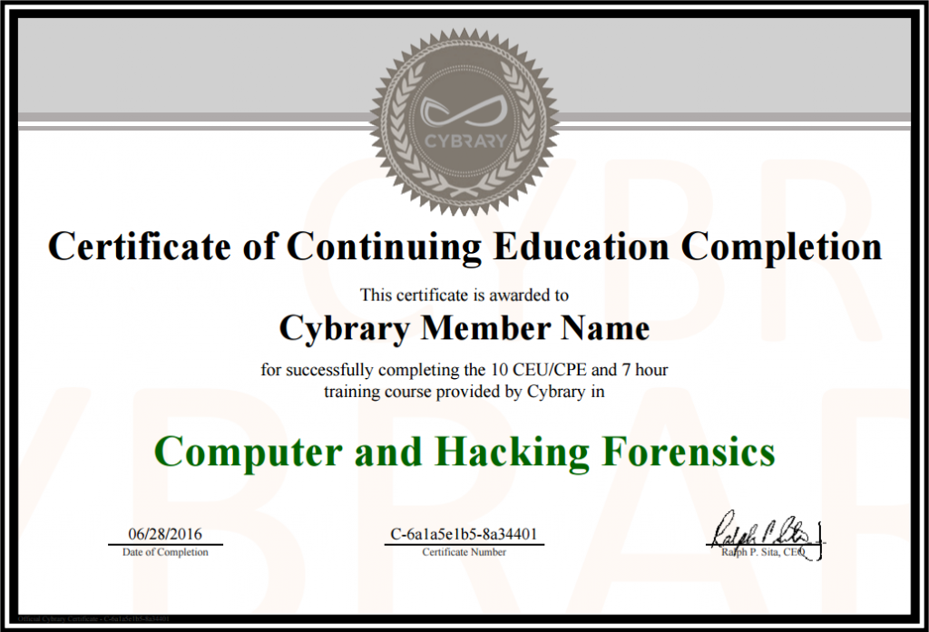 cpe certificate template - certificate of completion cybrary