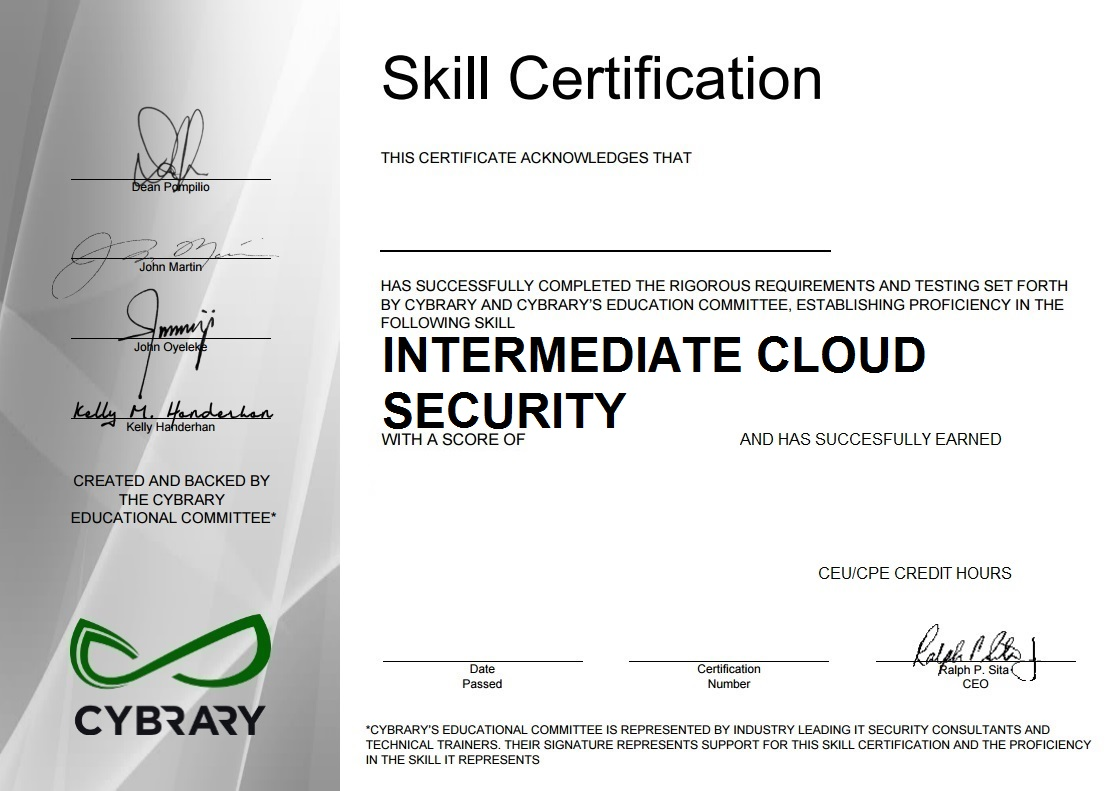 Intermediate Cloud Security