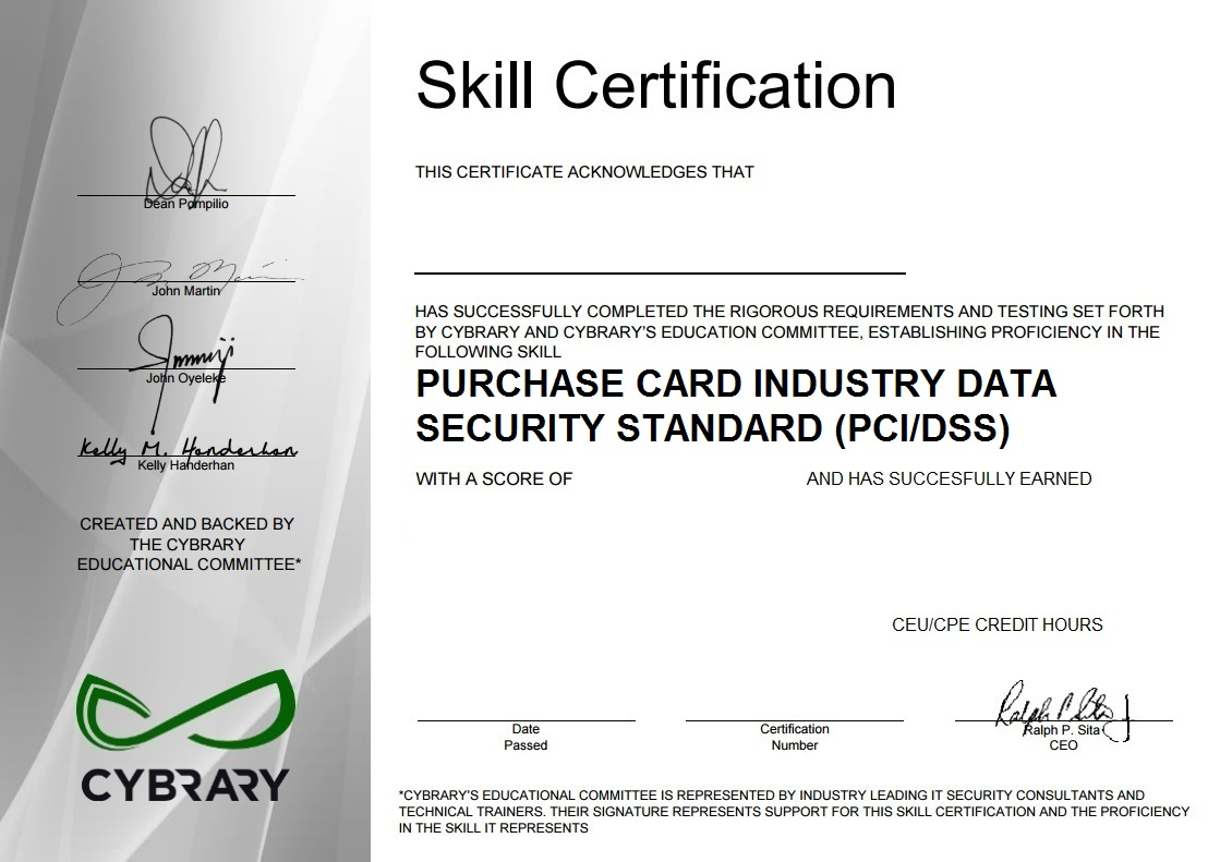 Payment Card Industry Data Security Standard PCI/DSS