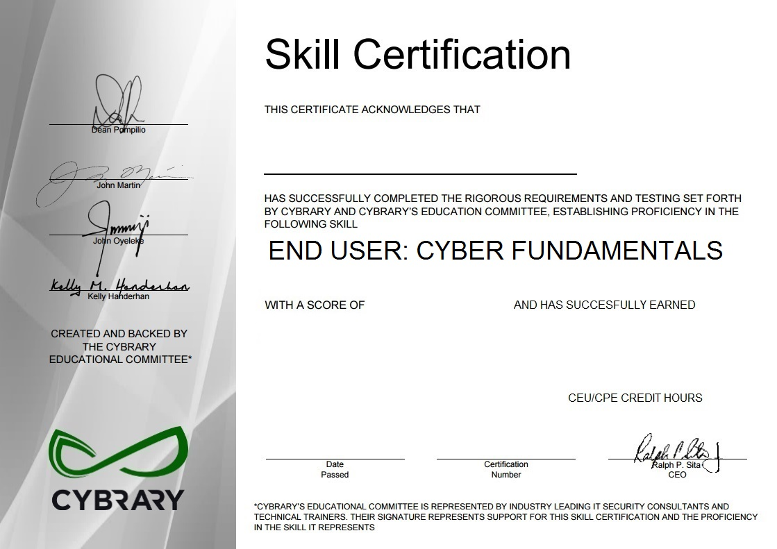 End User: Cyber Fundamentals