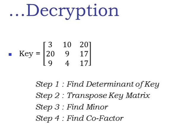 Learn Hill Cipher with 3x3 Matrix Multiplicative Inverse