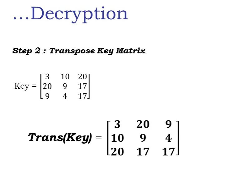 Learn Hill Cipher with 3x3 Matrix Multiplicative Inverse Example