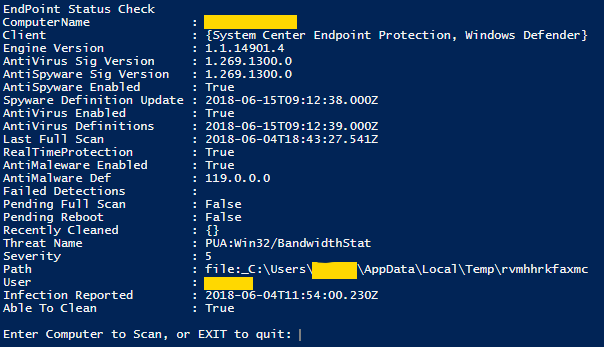 PowerShell Endpoint Status
